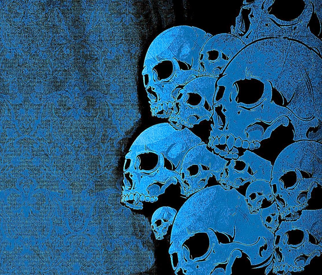 blue wallpaper skull - photo #12