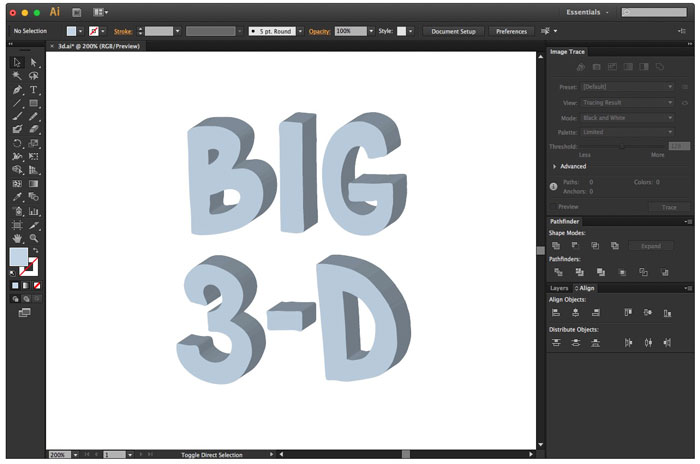 click outside of artwork to see the final 3d text effect