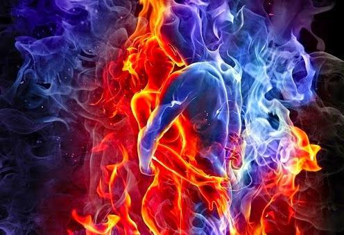 pareja representada por llamas