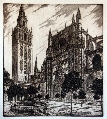 Vista de la Giralda de la Catedral de Sevilla. Grabado de Manuel Castro Gil