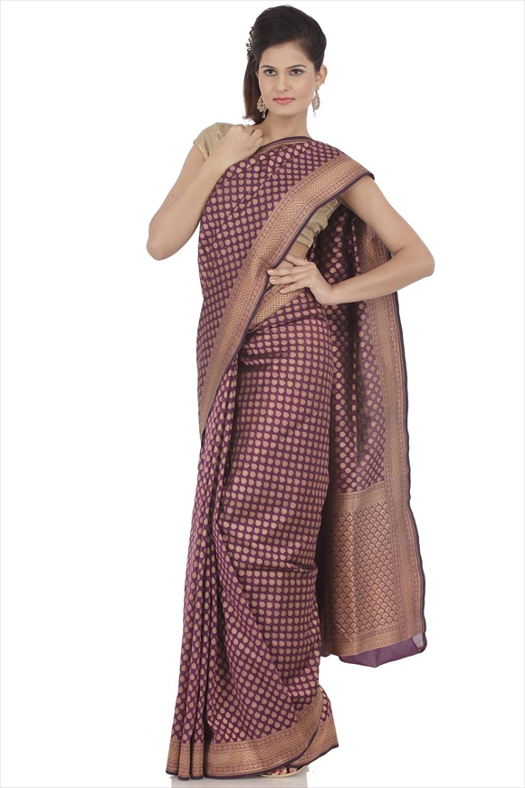 Imperial Purple Art Georgette Banarasi Saree