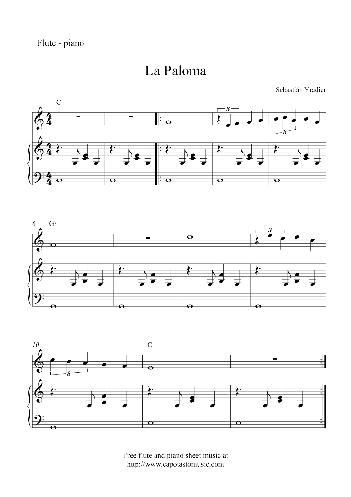piano flute notes