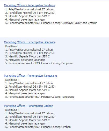 lowongan kerja bank bca finance surabaya oktober 2014