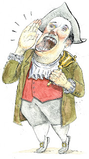 ink and watercolor cartoon of a town crier