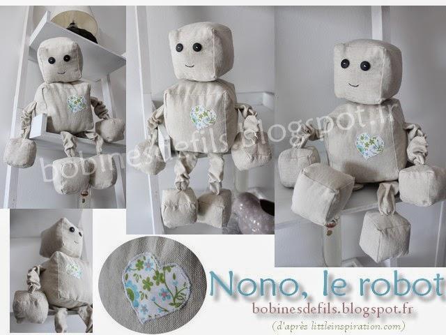 Peluche Nono le robot (vues) / bobinesdefils.blogspot.fr