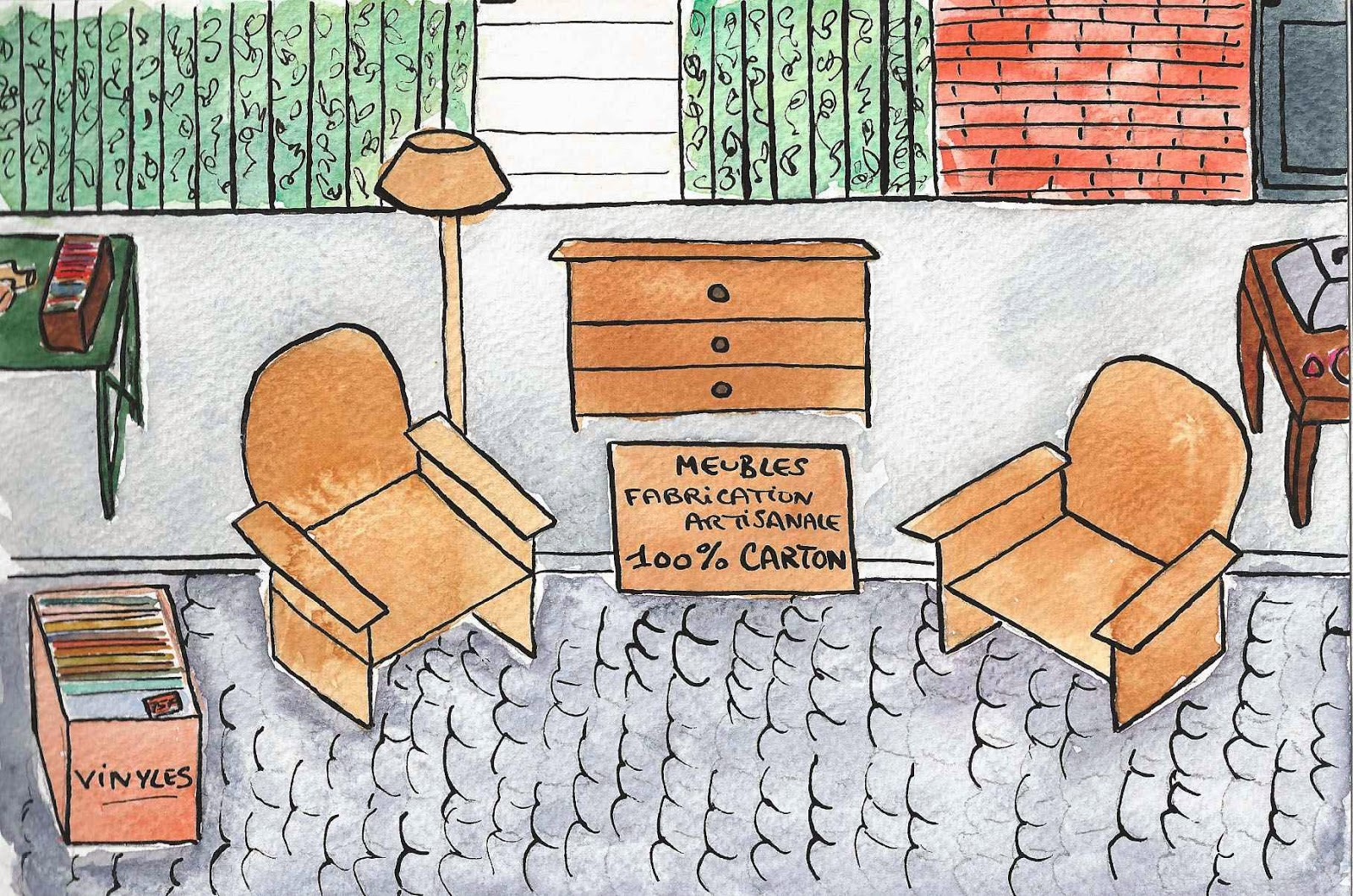 Tout en carton, mobilier fabrication artisanale