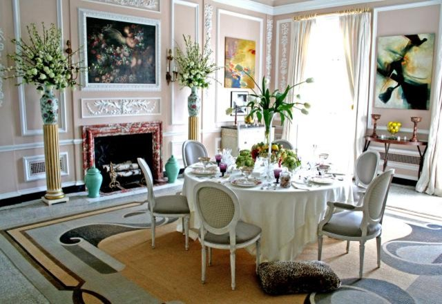 Wide Dining Space in Gorgeous Interior with Round Dining Tables and Stunning Chairs near the Wide Fireplace