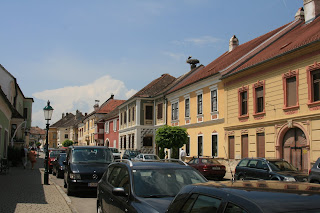 Main street in Rust and the Burgenland state in Austria. Note the storks on top the chimneys.
