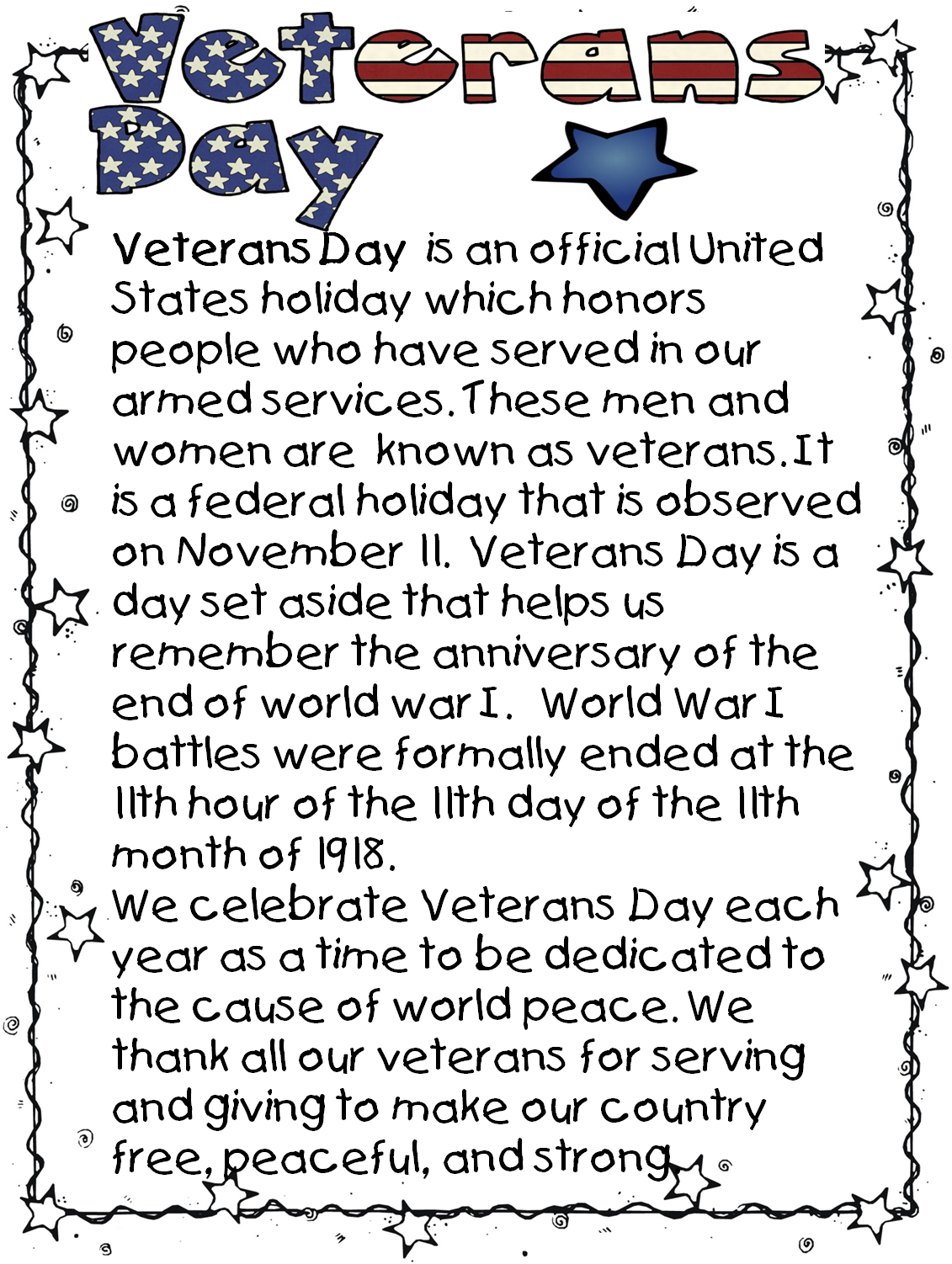 Veterans Day Activities, Grades 6-8