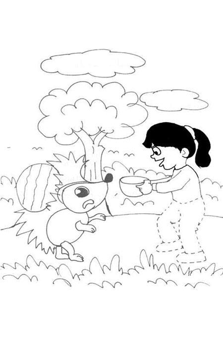 بنت صغيرة تقدم الطعام للحيوانات لتلوين الاطفال
