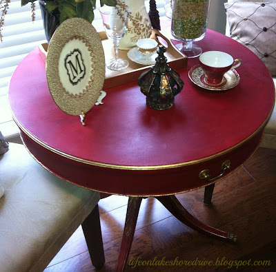 Annie Sloan Emperor's Silk Red Chalk Paint Table Makeover, gold gilding wax, tutorial, dark wax, diy