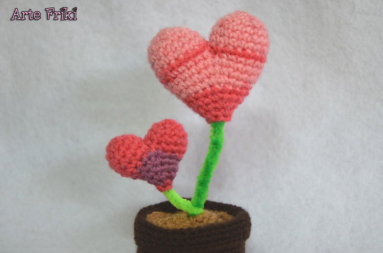 planta corazon amigurumi patron crochet ganchillo heart plant pattern free gratis