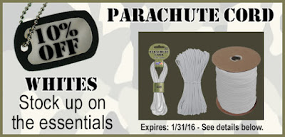 All WHITE Paracord on sale at ParachuteCordCraft.com