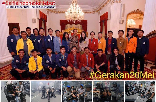 Ketika Para Pemimpin Aktivis di Suap dengan Jamuan Makan dan Foto Narsis Bersama Presiden Joko Widodo