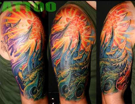 tattoo dragon half sleeve tribal Sleeve Ideas Design for  Half Half Photo Tattoo Men Sleeve Tattoo