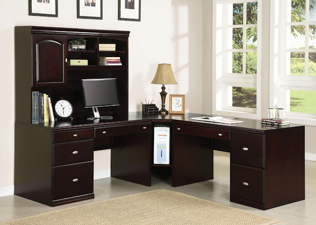 wonderful long dark brown wooden home office desk with hutch plus brown cozy carpet on the ceramic floor