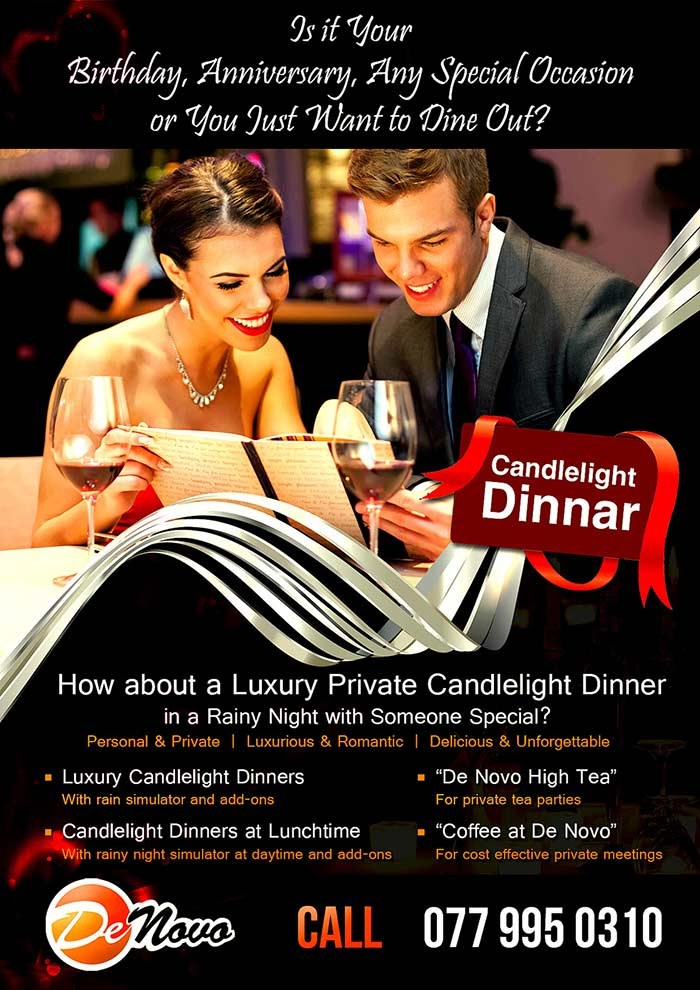 """A Luxury Dinner at De Novo! """"A glamorous candlelight dinner that will never be forgotten!"""""""