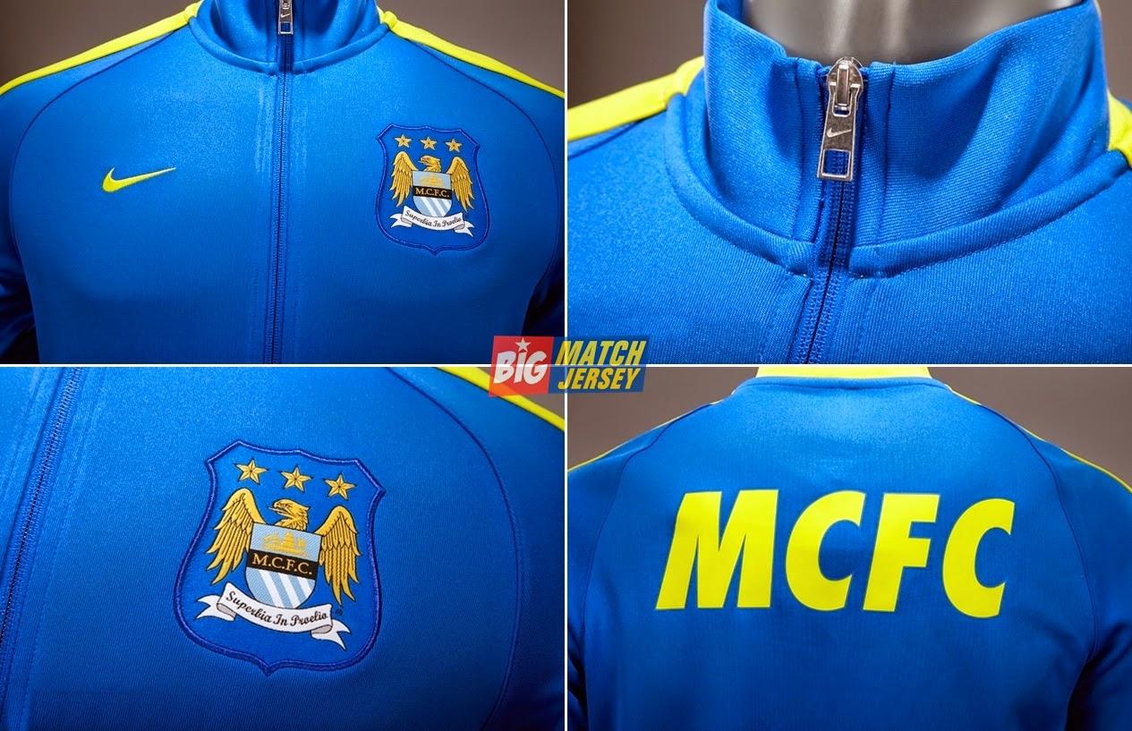 Detail Jaket Bola Grade Ori Nike Klub Manchester City Away Liga Inggri Official Musim 2014-2015 Biru Tua