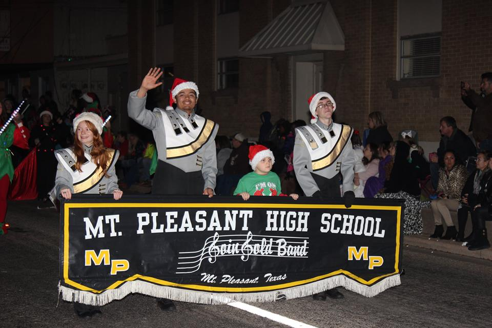 hundreds of people gathered in downtown mount pleasant saturday night for the annual christmas parade the high school goin gold band led the way - Mount Pleasant Christmas Parade