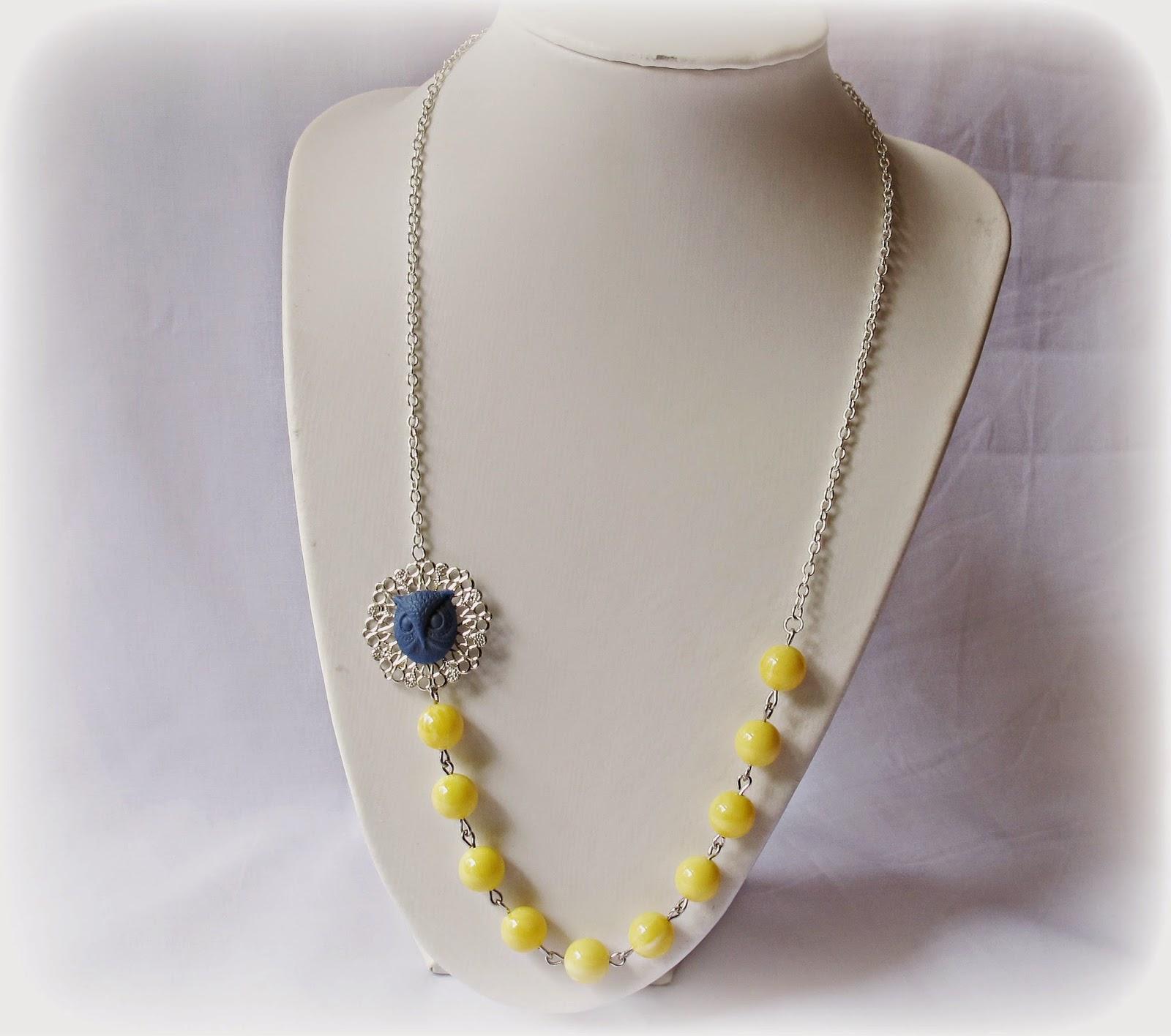 image orome necklace two cheeky monkeys candyland range woodland owl navy blue sunshine yellow vintage beads lucite