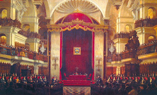 Primer Congreso Constituyente del Perú en la capilla de la  Universidad de San Marcos