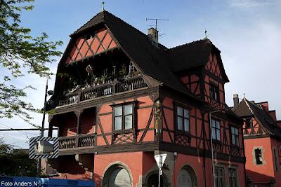 Frankrike, France, hus, house, houses, street, gata, fransk, bakgata, småstad, korsvirkeshus