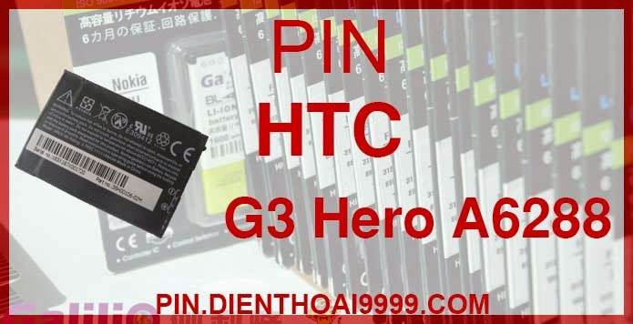 Pin HTC G3 - Pin Chính hãng / Pin Galilio G3 dung lượng cao. - Giá 200K - Bảo hành: 6 tháng  - Pin tương thích với điện thoại HTC G3/ A6288/ Pin HTC hero/ T5399 ......  Thông số kĩ thuật: - Pin HTC G2 được thiết kế kiểu dáng và kích thước y như pin nguyên bản theo máy, Pin tiêu chuẩn, chất lượng như pin theo máy. - Kích thước: 6.5 x 4 x 0.5cm - Dung lượng: 2000 mAh - Điện thế: 3.7V - Công nghệ: Pin Li-ion Battery  Mô tả sản phẩm: - Pin Galilio nhờ nghiên cứu và phát triển công nghệ lithium nên đã đạt được pin dung lượng cao nhất cho phép (từ 1,5- 2 lần) nhưng vẫn đảm bảo được chất lượng cao, đã vượt qua nhiều tiêu chuẩn chất lượng như ISO 9001, ISO 1400I, CERTIFICATED, hãng cũng ứng dụng Công Nghệ an toàn mà những hãng pin khác không có được: Controller IC, Control swithches, Temperature Fuse.. - Thiết kế kiểu dáng và kích thước y như pin nguyên bản theo máy, thuận tiện và dễ dàng thao tác, pin dung lượng cao cung cấp đủ nguồn điện cho máy sử dụng được trong thời gian dài, có thể mang đi bất cứ đâu để phòng khi pin của máy bạn hết mà không có điều kiện để sạc. - Cho phép bạn giữ các cuộc nói chuyện và bảo đảm cho bạn không bỏ lỡ các cuộc gọi điện thoại quan trọng - Pin sạc bằng cách gắn vào điện thoại và sạc như pin gốc - Sản phẩm đạt tiêu chuẩn tuyệt đối về an toàn cháy nổ - Bảo hành đổi pin mới trong 6 tháng.  GIAO HÀNG VÀ BẢO HÀNH TẬN NHÀ  Quý khách có nhu cầu mua pin,  hãy liên hệ với chúng tôi:  0904.691.851 - 0976.997.907  Website: http://pin.dienthoai9999.com Mua số lượng lớn: 0942299241  - Hướng dẫn sử dụng, bảo quản pin: http://pin.dienthoai9999.com/p/huong-dan-su-dung-pin - Quy định bảo hành: http://pin.dienthoai9999.com/p/quy-dinh-bao-hanh-pin - Khách hàng góp ý: http://pin.dienthoai9999.com/p/khach-hang-gop-y