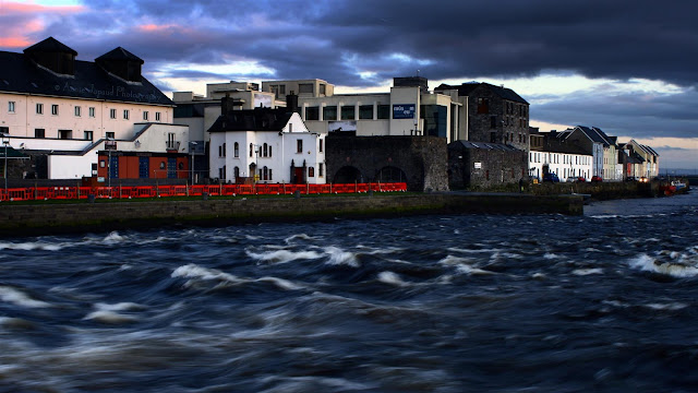 wild waters at  Claddagh Quay from Wolfe Tone Bridge, Galway