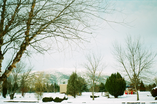 Ansco 1090 AFS mountains in snow Sandpoint