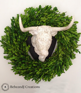 French Country Bull with Wreath bebeandj.com