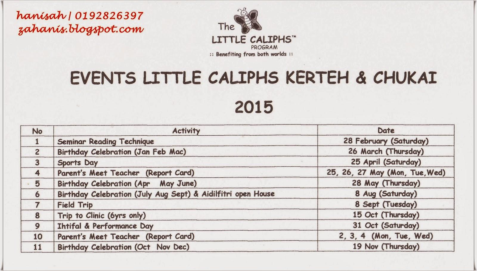 jadual tahunan aktiviti little caliph kerteh