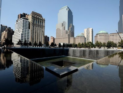 A view of the south reflecting pool at the National September 11 Memorial at ground zero