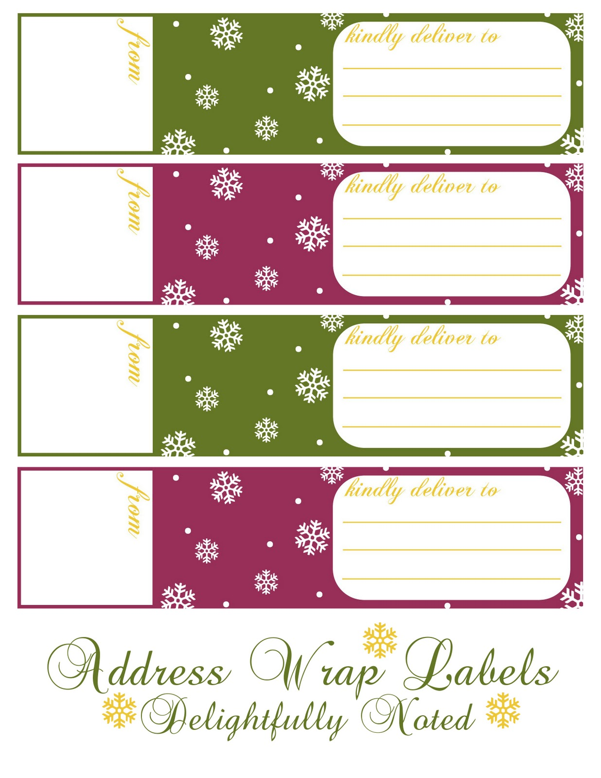 Printable holiday wrap around address labels delightfully noted for Printable christmas address labels