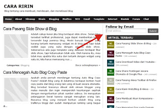 Widget Follow by Email di Blog Cara Ririn