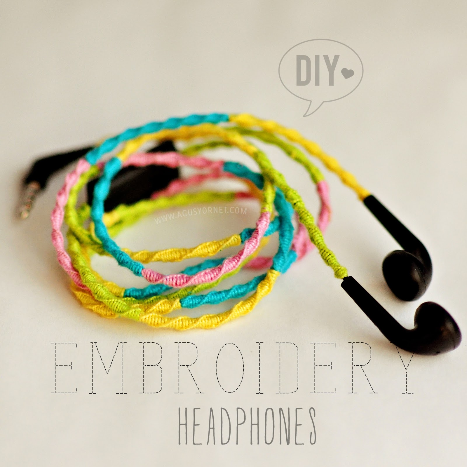 Diy embroidery headphones auriculares de colores agus