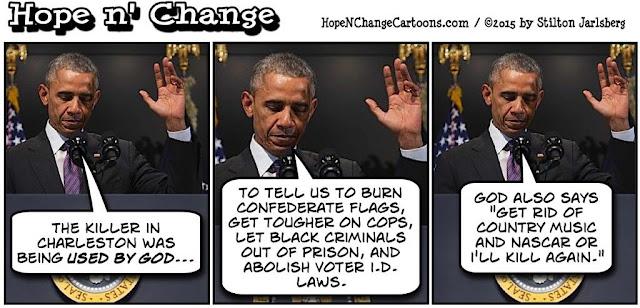 obama, obama jokes, political, humor, cartoon, conservative, hope n' change, hope and change, stilton jarlsberg, charleston, dylann roof, murders, eulogy, church, racism