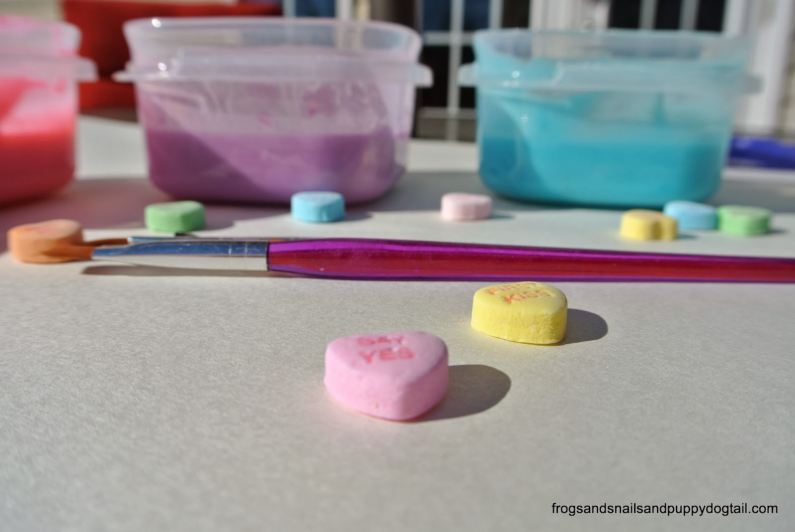 Conversation Heart Sensory Paint- cheap and easy to make