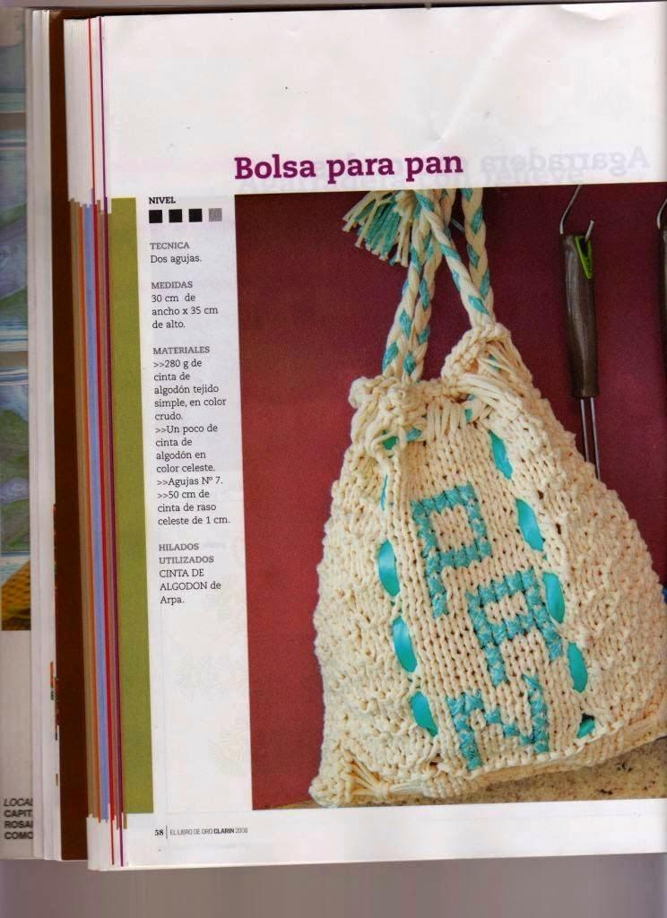 Patrones de Bolsa para el pan tejida con dos agujas con explicación en español