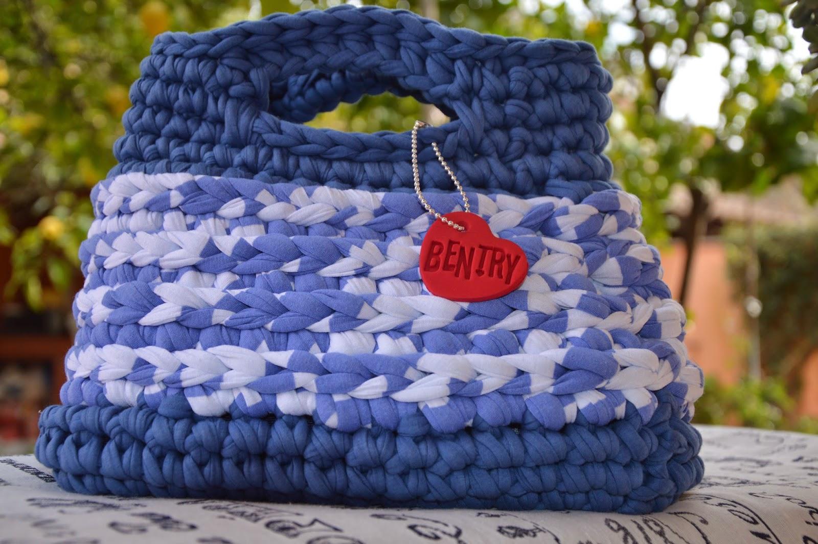 Borsa cotone blu China cotone rigato bianco e blu China