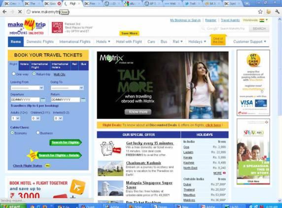 makemytrip websites homepage screenshot
