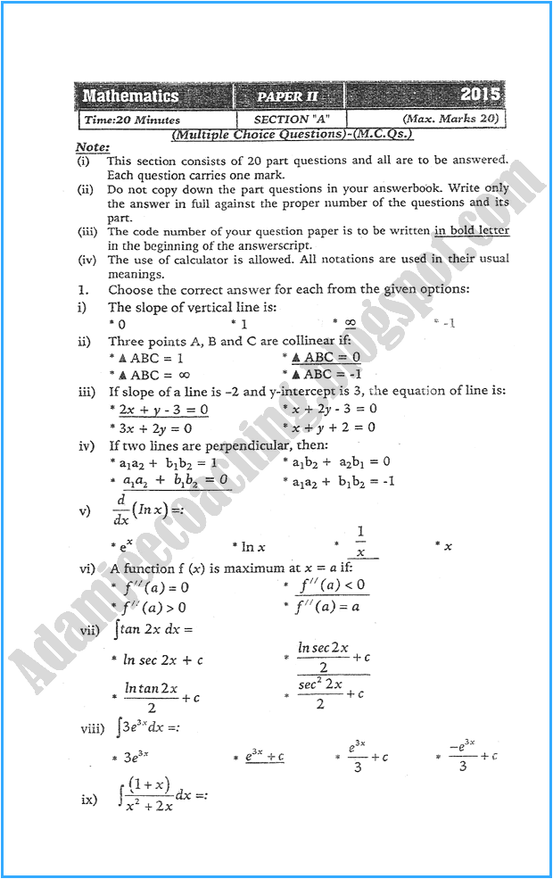 xii-mathematics-past-year-paper-2015
