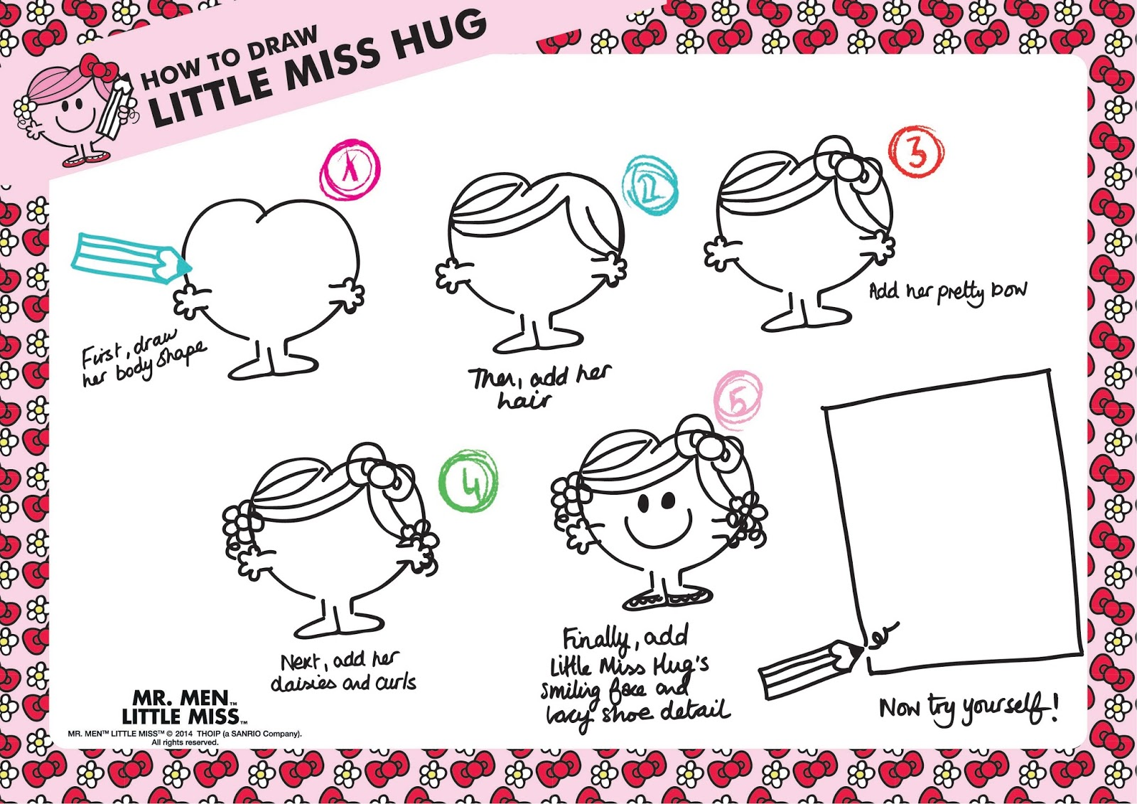 Little Miss Hug how to draw tutorial