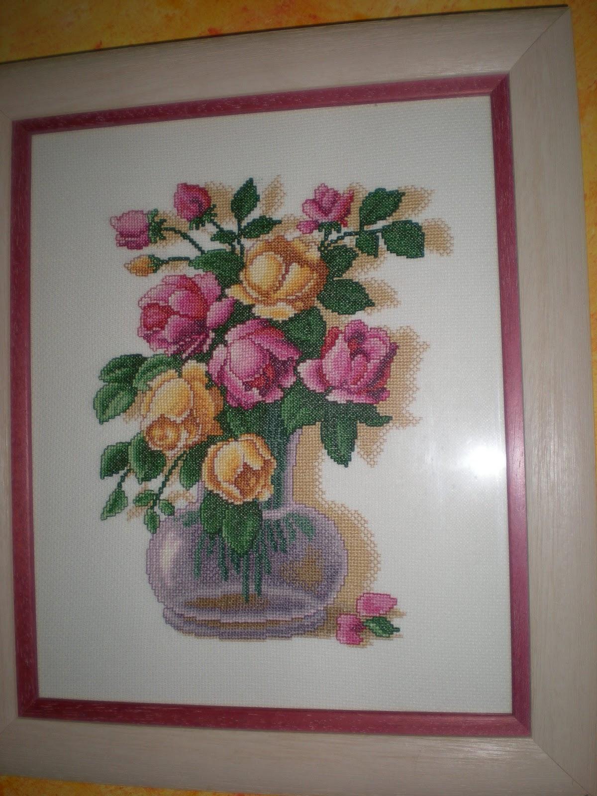 Rosa sobre malva cuadros en punto de cruz for Cuadros cocina punto de cruz