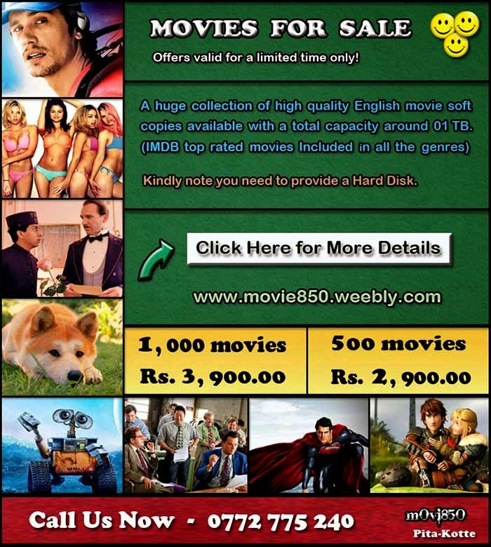 We have the best English movie collection available in the country with more than 1,000 movie soft copies with a total capacity around 01TB. All with superb video quality. There are no cam copies or any bad copies. Mainly 720p Blu-Ray Rips & a few DVD Rips. IMDB highest rated blockbuster movies Included in all the genres.  This surely is the best movie collection available in town with really great movies. We know you would thoroughly enjoy this wonderful collection for a very long time.