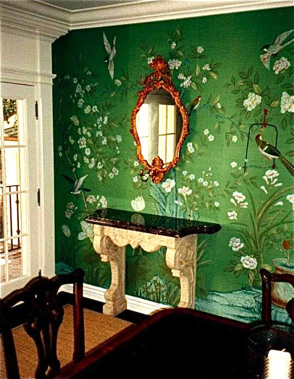 La maison boheme emerald green for Wallpaper designs for living room green