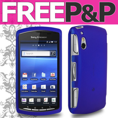 Blue Tough Hybrid Shell Armour Hard Case Cover Fits Sony Ericsson Xperia Play