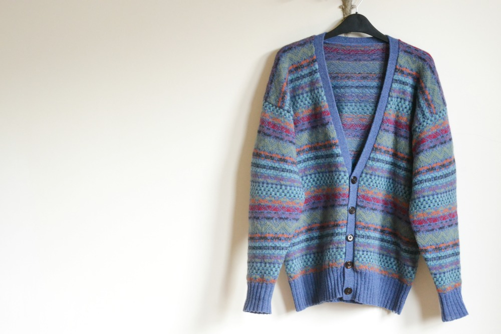 shetland sweater cardigan multi coloured fair isle charity shop vintage