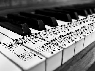 Music Notes on Piano Keyboard Close Up HD Wallpaper