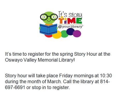 3-30 Story Hour At Oswayo Library