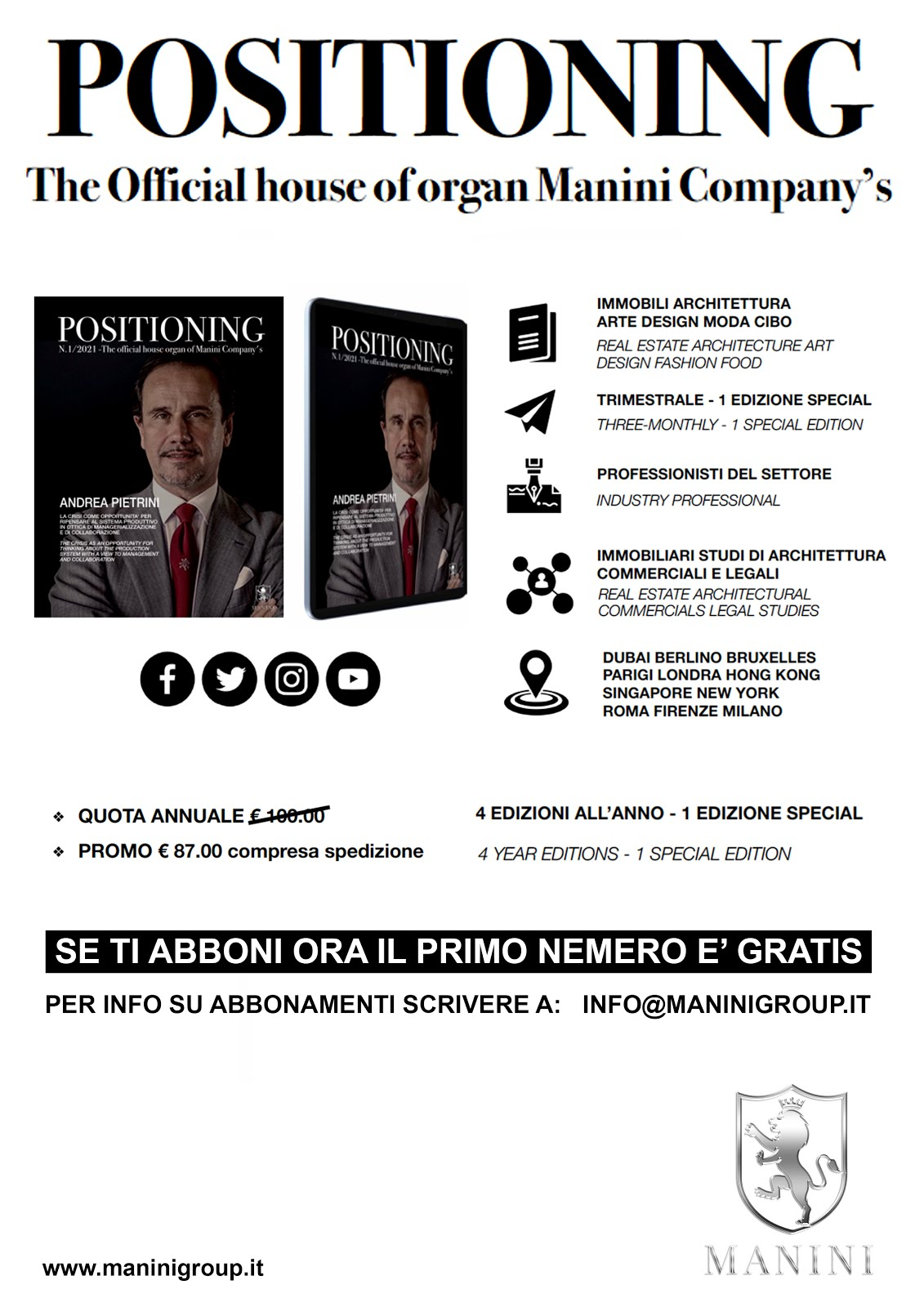 POSITIONING: RIVISTA UFFICIALE DI MANINI GROUP